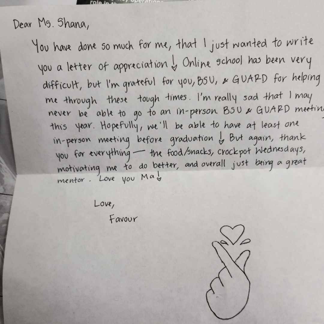 Letter from student.